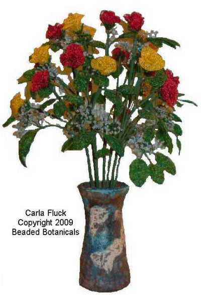 Beaded Flowers - Red and Yellow Roses in Blue Raku Vase