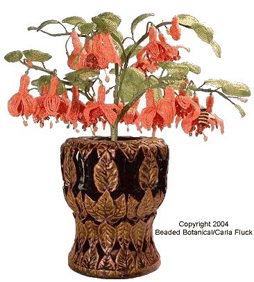 Beaded Flowers - Fuchsia in Leaf Carved Container